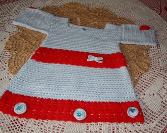 Blue and red dress 2 / 3 years old hand made crochet