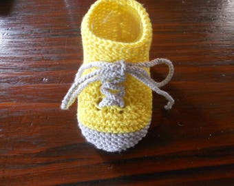 Baby or small converse yellow bamboo slippers grey sole