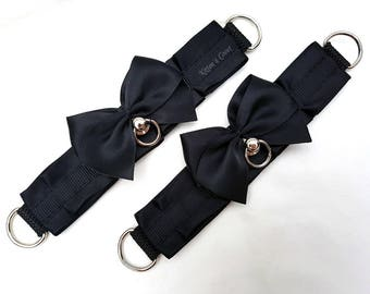 Ashley Cuffs [Black | Made to Order] Wrist or Ankle Elegant Thin Black Pleated Kitten Play/Pet Play Cuffs