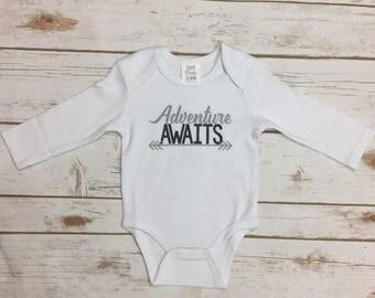 Adventure Awaits Boy Outfit - Newborn Baby Boy Bodysuit - Adventure Boy Baby Shower Gift - Baby Boy Outfit