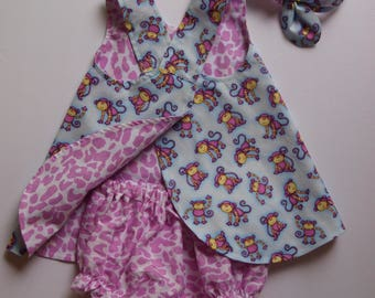 Baby Pinafore, Beach Dress, Bloomers, Headband, Little Monkeys, Size 6 month, Reversible