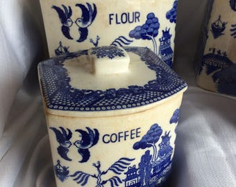 Vintage Blue Willow Canister Set