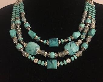 Aqua Blue Summer Statement Necklace