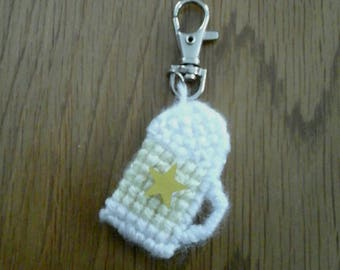 Beer glass key chain, white and yellow key chain, needle point beer glass key chain, cross and stitched key chain, handmade glass key chain