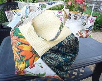 Handbag multicolor cotton patchwork on the bias