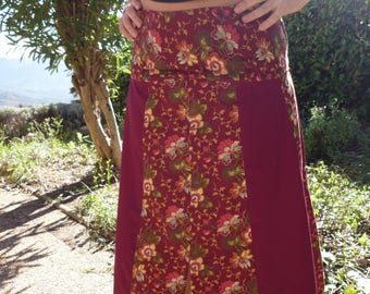 Plain and flowered pathwork gored skirt