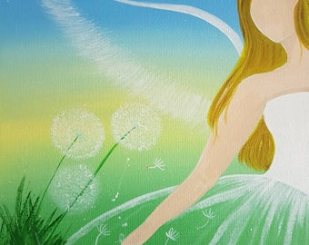 Keeper of Wishes. Modern angel painting on canvas board