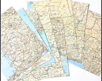 Assorted World Atlas Map Pages - Vintage Maps - Vintage Atlas Pages - Eight (8) Assorted Map Pages - 8.5 x 11