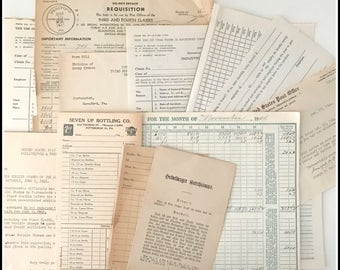 Vintage Paper Ephemera Assortment - Assorted Papers / Invoices / Receipts / Billing / Forms