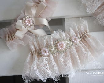 Wedding Garters Set Blush, Pink Bridal Garter, Lace Blush Garter, Tulle Blush Wedding Garter Set, Blush Wedding Garter Set