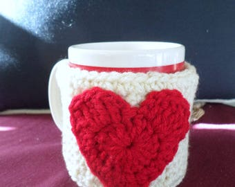 Coffee Cup Cozy Sleeve Heart Emblem Valentine