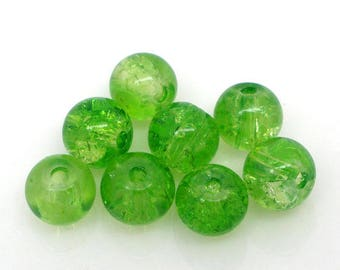 A set of 5 beads of glass - green - 6mm - MB004923 Craquelees