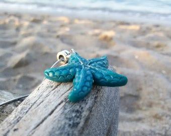 Blue Sea Star necklace Boho beach jewelry Starfish necklace Summer beach pendant Starfish Boho necklace Delicate Sea Star jewelry