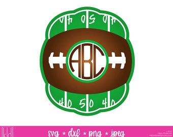 Football Monogram svg - Fall Monogram svg - Monogram Frame svg - Football Shirt svg - Circle Monogram svg - American Football
