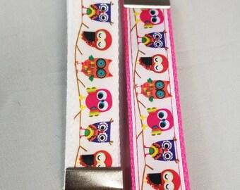 Key fob / wristlets / key ring / key chain / owl print key fob / owl key fob