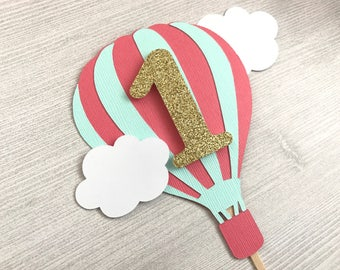 Hot Air Balloon Cake Topper, Up Up and Away, Air Balloon Cake Topper