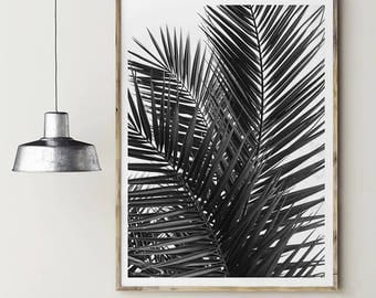 Black/white palms. Palms leaves. Nature poster. Instant download