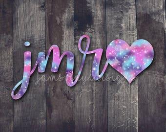 Initials Heart Decal  Monogram Heart Decal  Name Heart Decal  Yeti Name Decal  Car Window Name Decal