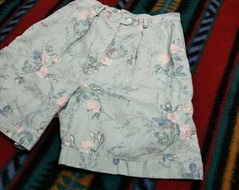 Vtg Womens 90s Style Ralph Lauren High Waisted Floral Linen Mom Shorts | Vintage Retro Pink Green | Size 10