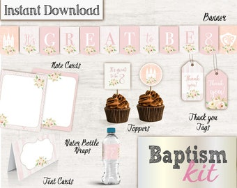 Baptism Girl Kit - LDS Baptism Printable, Toppers, Banner, Water Bottle Wraps, Tent Card, Note Cards, Thank you tag, Instant Download