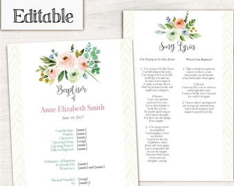 Baptism Program LDS Printable Digital, Editable PDF, Songs Handout Girl Baptism Pink Green Flowers, Program Template