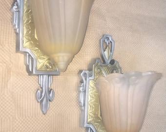 """Pair of Lincoln """"Fleur De Lis"""" Slip Shade Sconces. Art Deco"""
