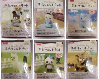 DIY Needle Felting Kit Wool Needle Felt Craft Bear Rabbit Elephant Alpaca Panda Squirre
