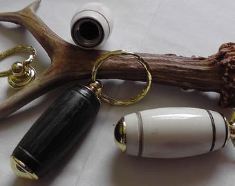 Antler or Bog Oak Secret Compartment Key Chain, Pill Holder Keychain, Pill Box, Metal Pill Case, Pill Container
