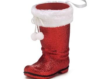 6 Holiday Party Vases, Santa Boot Vases, Christmas Party Vases, Red Christmas Santa Boot Vase
