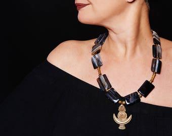 Bronze from Orissa/beautiful Stripe Agate/Pyrite/Orissa Cross/Unique ETHNO Creationhno