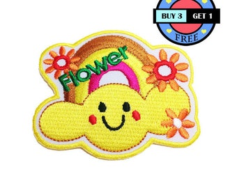 Smile Flower Rainbow Cloud Embroidered Iron On Patch Heat Seal Applique Sew On Patches