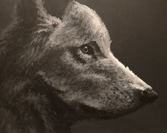 Acrylic Black and White Wolf Painting