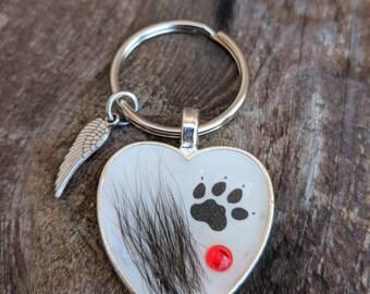 Pet fur jewelry, pet loss, keychain, pet fur, memorial, pet keepsake, pet keychain, memorial keychain, angel wing