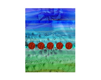 Abstract Art Print, Contemporary Modern Bright Decor, Minimalist Wall Art,  Poster Wood Panel Canvas, Geometric Red Circles, Blue Green Aqua