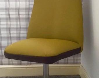 Reupholstered Retro Chrome Base Swivel Chair
