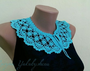 Light blue crocheted lace collar necklace Necklace crocheted Lace collar dress Romantic collar Necklace Women accessory Gift Elegant collar