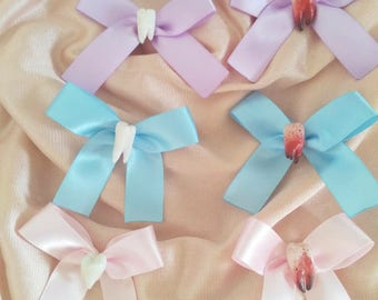 Pastel cute and creepy tooth bow pin/hair clip/Necklace