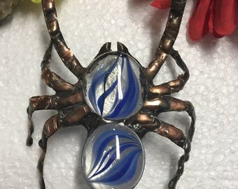 Blue Tarantula Glass Spider Sculpture bug