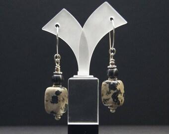 Steatement Earrings, Dalmation Jasper and Sterling Silver, Dangle Boho Artisan Earrings