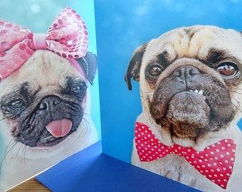 Pug Cards - Blank Greetings Card