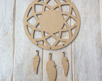 MDF Dream Catcher ready to decorate, choose your hanging shapes Geo CIRCLE