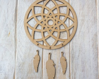 MDF Dream Catcher ready to decorate, choose your hanging shapes FULL GEO