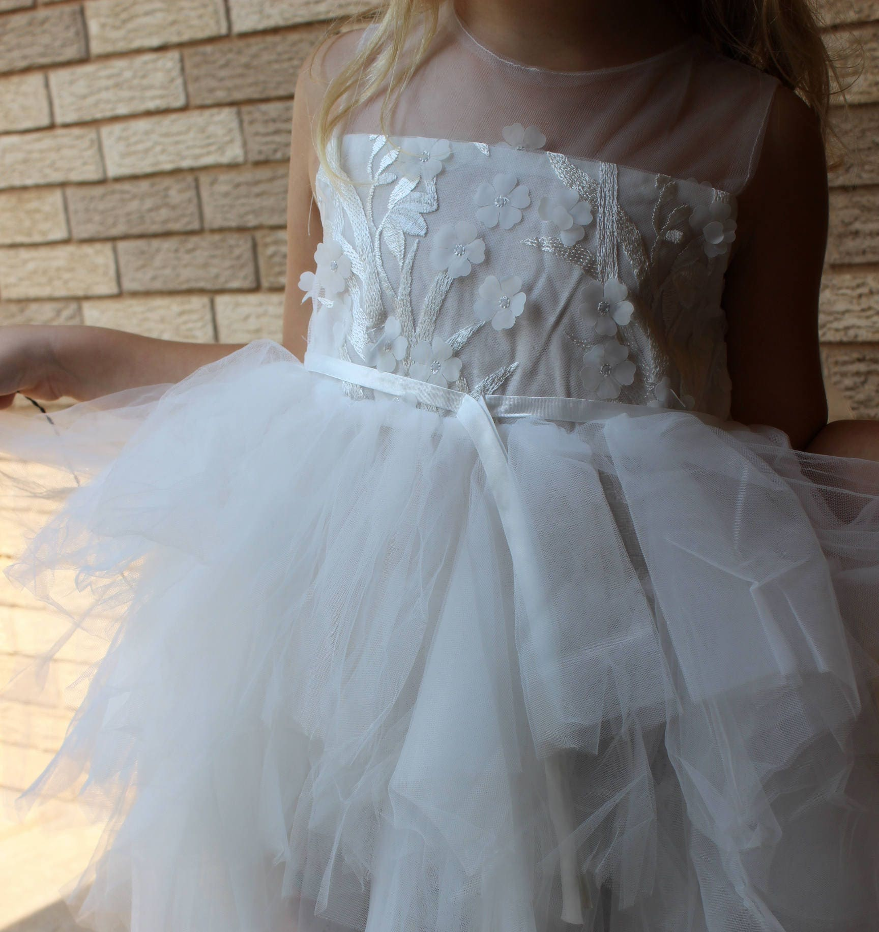 Embroidery Flowers Girls Dresses- , Wedding, white,pink summer Party ...