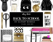 Back to School Clipart Bundle /Planner Clipart Bundle -20 Files total! Only ONE Basic or Large License needed -Pls read below for details