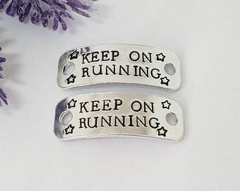 Personalised Trainer Tags, Hand Stamped Trainer Tags, Keep on running..., Running Shoe Tag, Marathon Gift, Runner Gift, Running Gift
