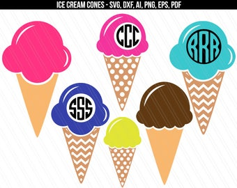 Ice cream svg, Ice cream cone svg cut files, Ice cream cone monogram, Summer SVG cricut silhouette- svg,dxf,ai,eps,pdf,png- Digital download