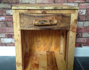 Rustic, handmade, side table, reclaimed wood, drawers, end table, bedside table, crate