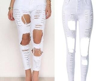 Let It Rip Slim Fit White Jeans