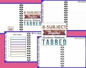 8 subject Digital Academic Notebook, Tabbed, Blue, for GoodNotes