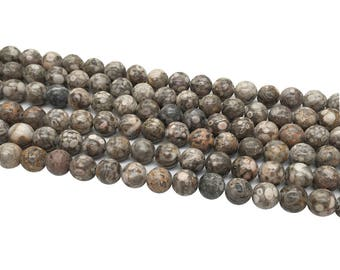 1Full Strand Fossil Jasper Round Beads ,8mm 10mm Wholesale Gemstone For Jewelry Making